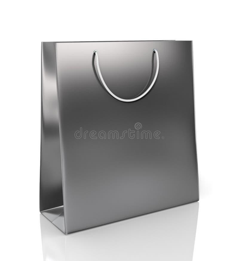 Black paper bag for purchases stock illustration