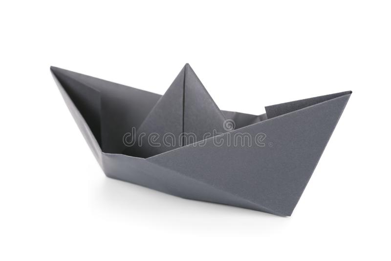 Black paper boat isolated royalty free stock image