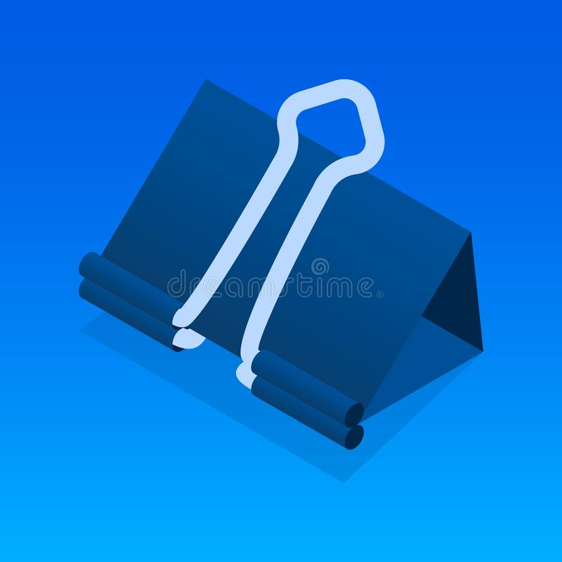Black paper clip icon, isometric style royalty free illustration