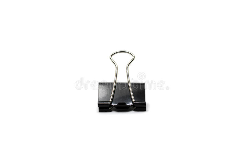 Black paper clip isolated royalty free stock image