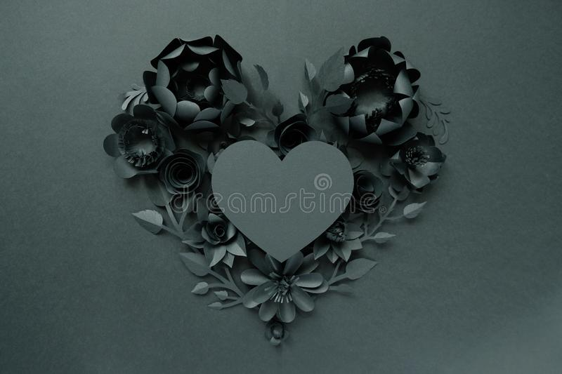 Black paper flowers, floral background, bridal bouquet, wedding, quilling, Valentine`s day greeting card, heart shape. On white background. Gothic stock images