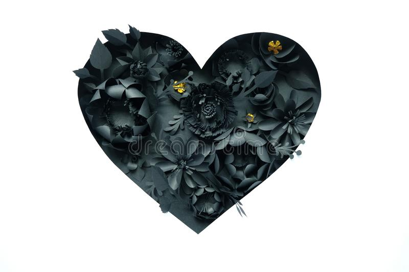 Black paper flowers, floral background, bridal bouquet, wedding, quilling, Valentine`s day greeting card, heart shape. On white background. Gothic stock photography
