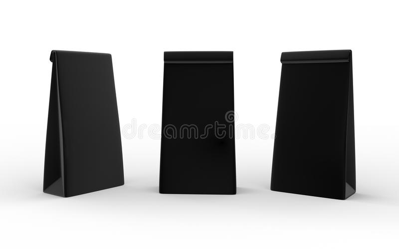 Black paper lunch bag isolated on white with clipping path. Packaging for food , snack or ingredient vector illustration