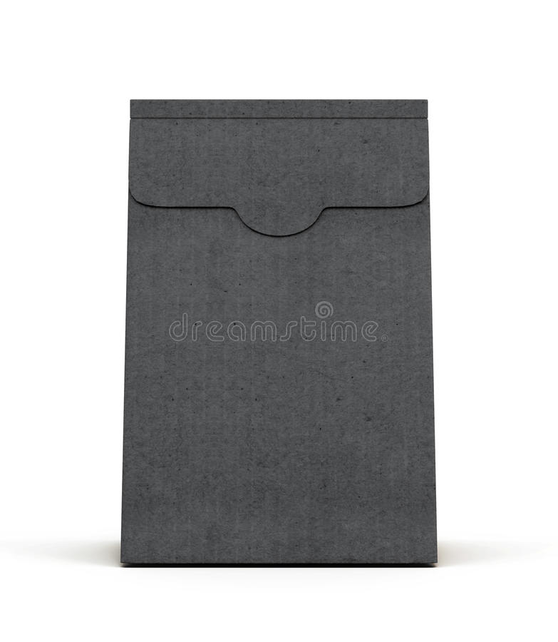 Black paper package isolated on white background. Front view. 3d. Rendering royalty free illustration