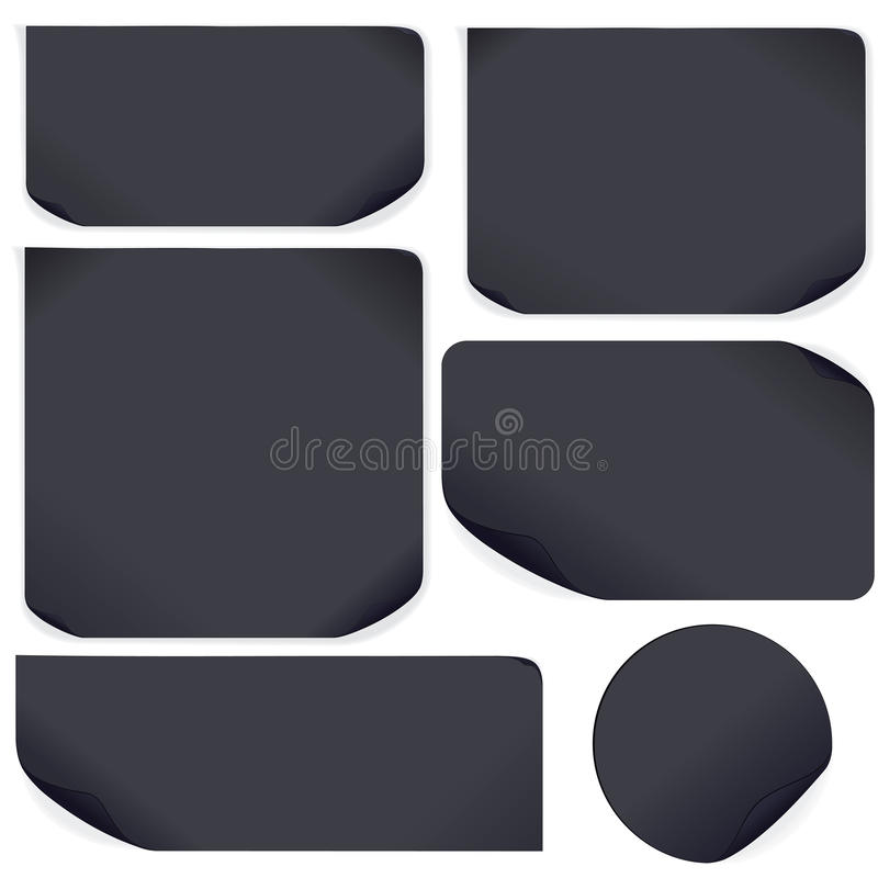 Black Paper Stickers. Set For Your Text And Design Royalty Free Stock Images