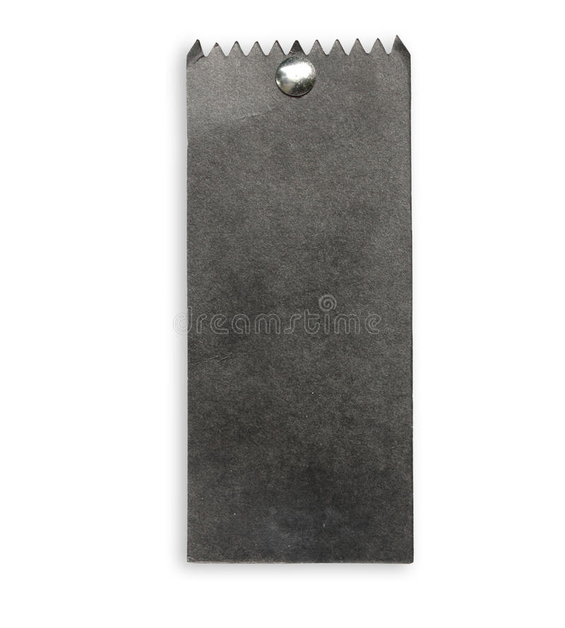 Black paper tag. Blank black paper tag isolate on white background royalty free stock photo