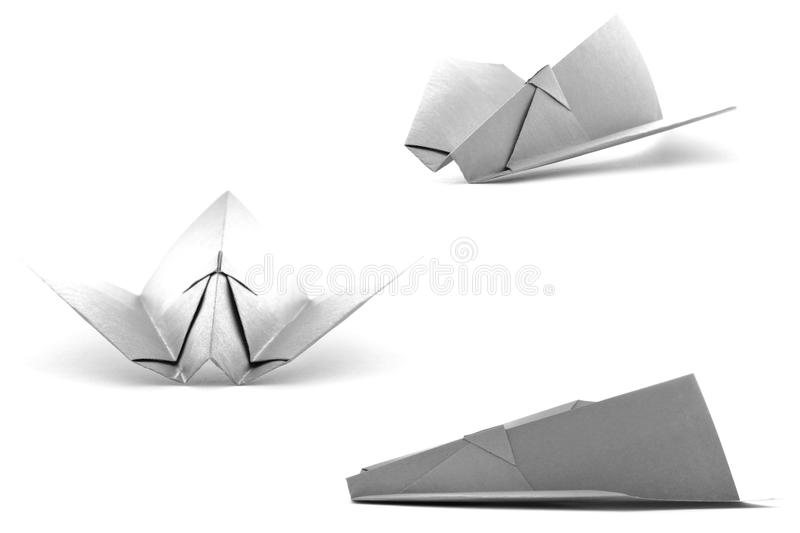 Black paper wing set, origami collection isolated on white background royalty free stock photo