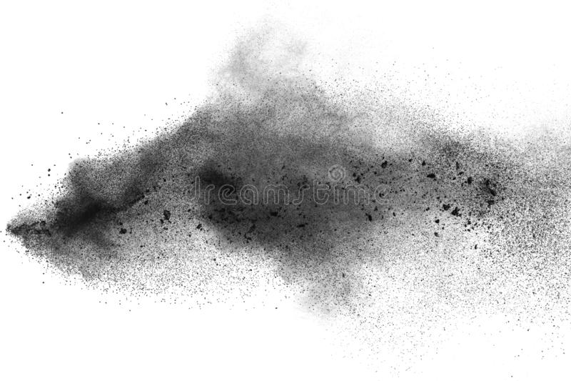 Black particles splatter on white background. Black dust splash on white background royalty free stock images