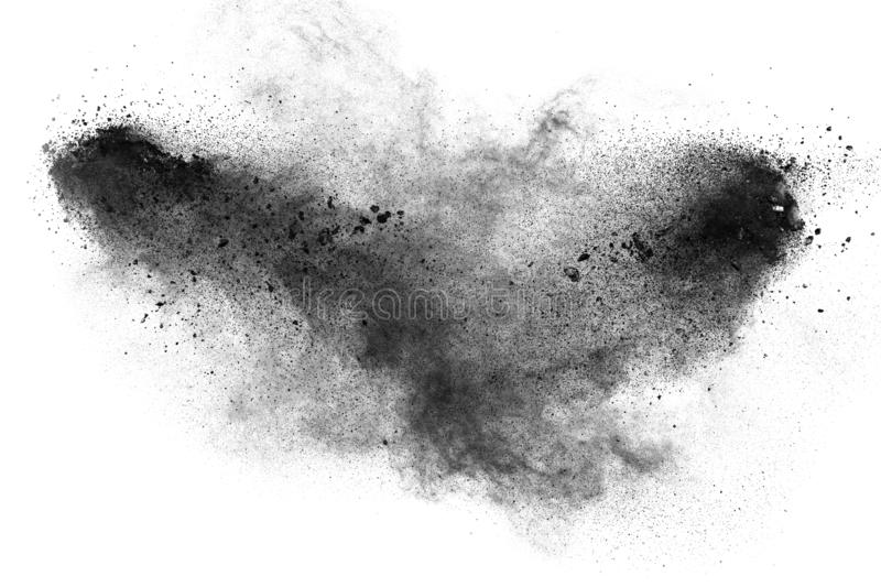Black particles splatter on white background royalty free stock images