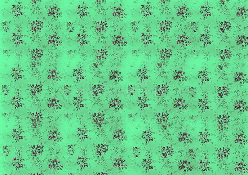 Black pattern floral on green background design royalty free illustration
