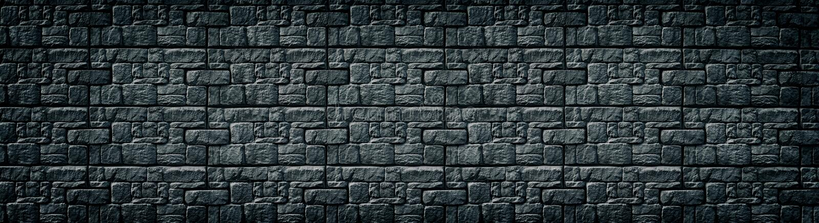 Black patterned tile wall wide texture. Dark masonry large backdrop. Gloomy gothic background. Black patterned tile wall wide texture. Dark masonry long backdrop stock illustration
