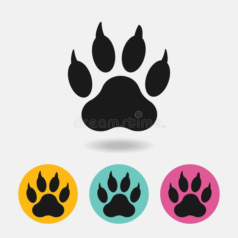 Trace paw of dog with shadow isolated on white background Vector. stock image