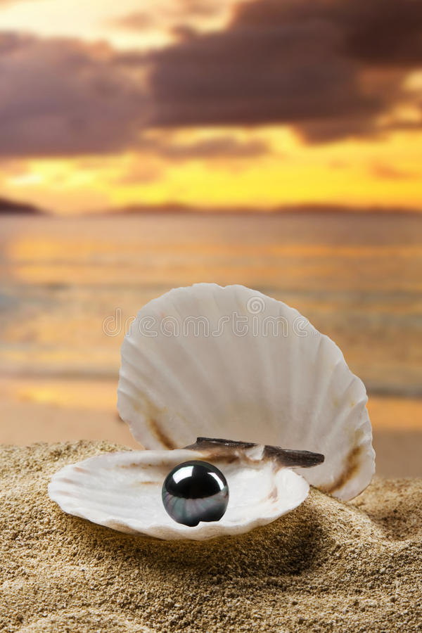 Black pearl. On the beach