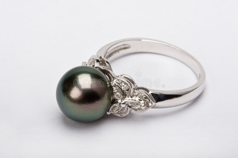 Black Pearl. Beautiful black pearl jewelry, in the white background stock photos