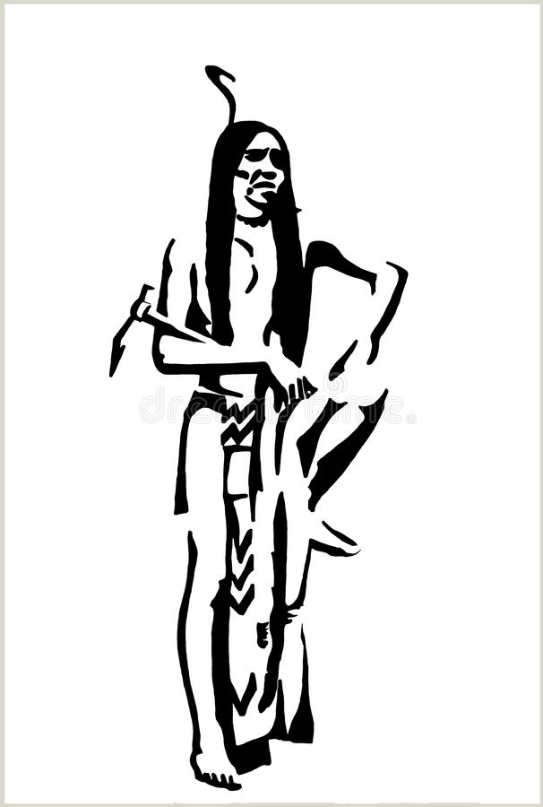 Black pen drawing of a Native American vector illustration
