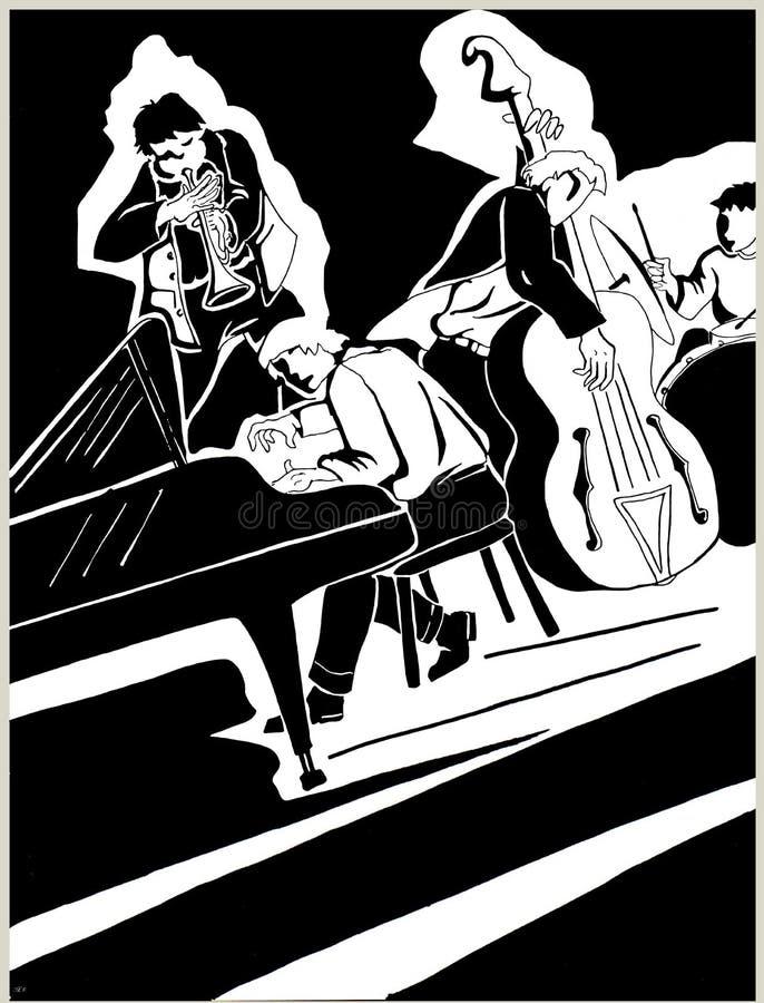 Black pen drawing of a quartet of jazz musicians. In full improvisation royalty free illustration