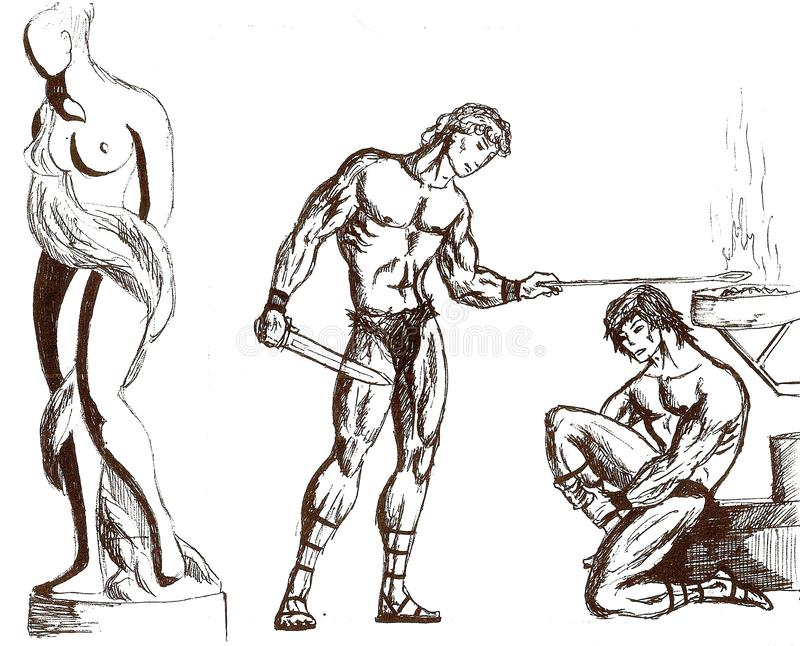 Black pen drawing of two gladiators with a statue depicting royalty free illustration