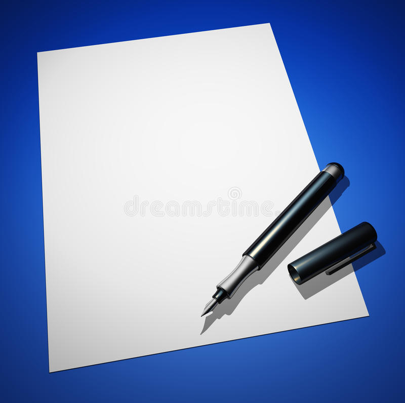 Free Black Pen On Paper - Blue Ground 01 Royalty Free Stock Photo - 18019515