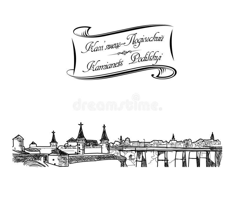 Black Pen Sketch Drawn Old Town Landscape stock images