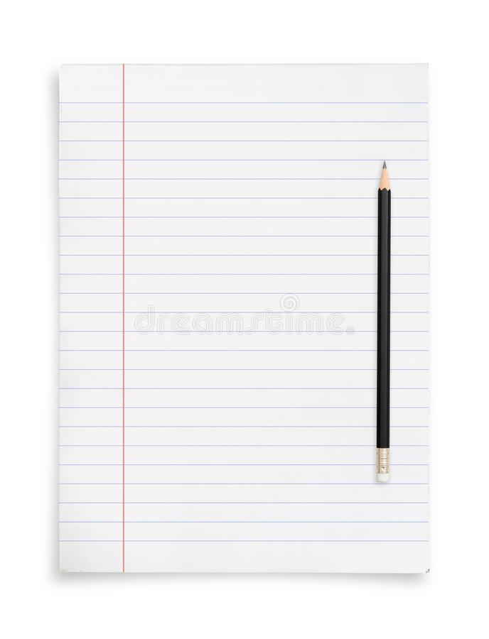 Black pencil and white paper sheet isolated on white background. Black pencil and white paper sheet isolated on white background with clipping path royalty free stock photo
