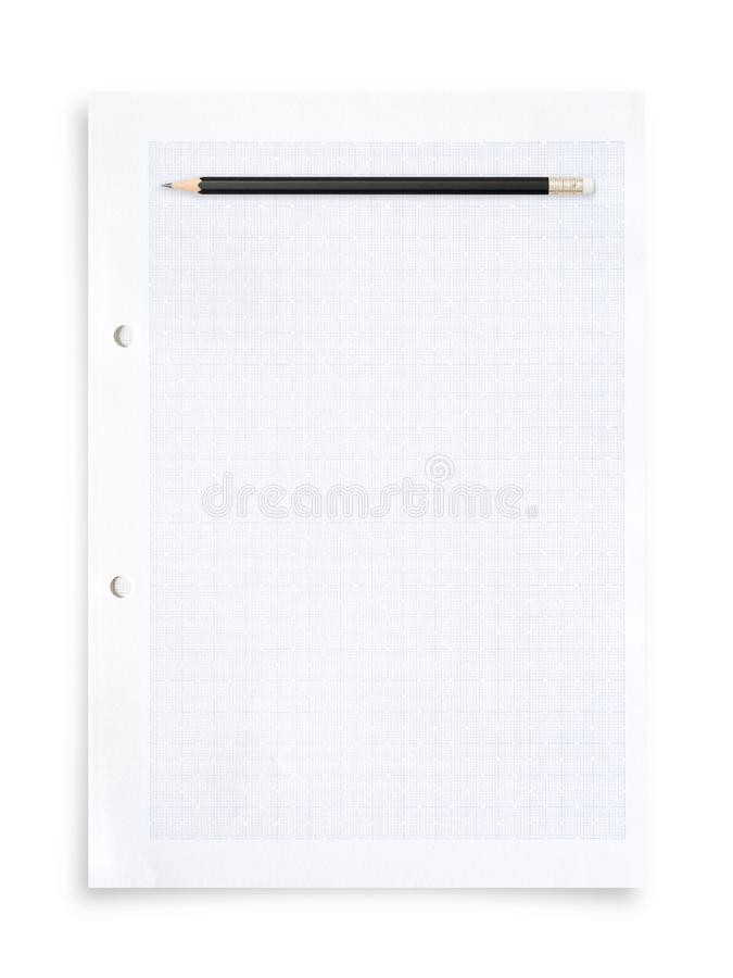 Black pencil and white paper sheet isolated on white background. Black pencil and white paper sheet isolated on white background with clipping path stock photo