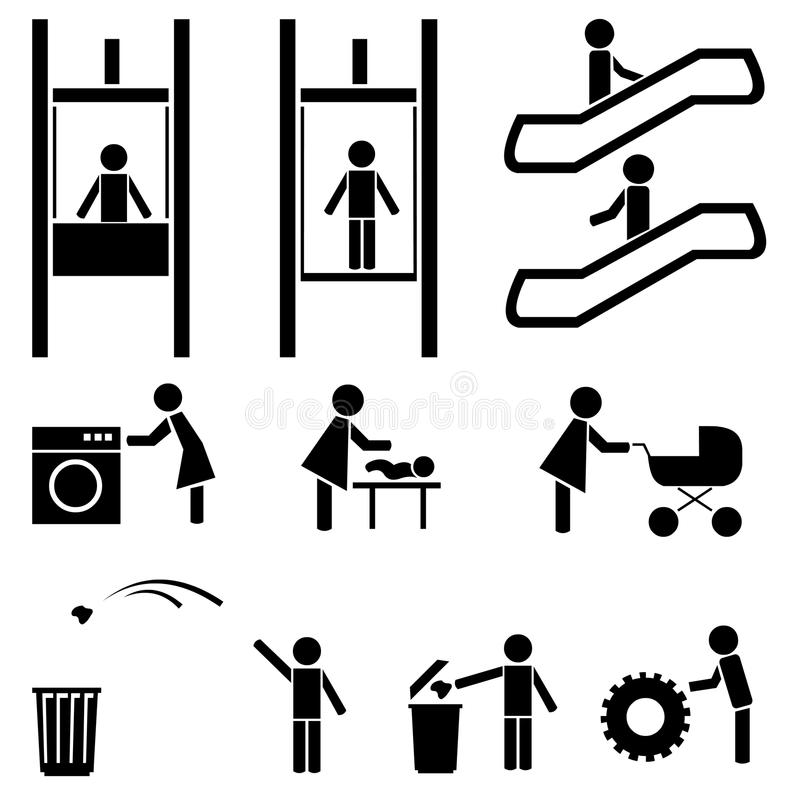 Black people icons set. Elevator, escalator. Cafe, pub, laundry. Mother and baby royalty free illustration