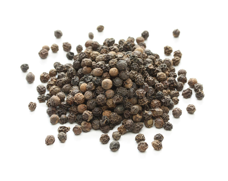 Black pepper, black peppercorn , indian spice royalty free stock photo