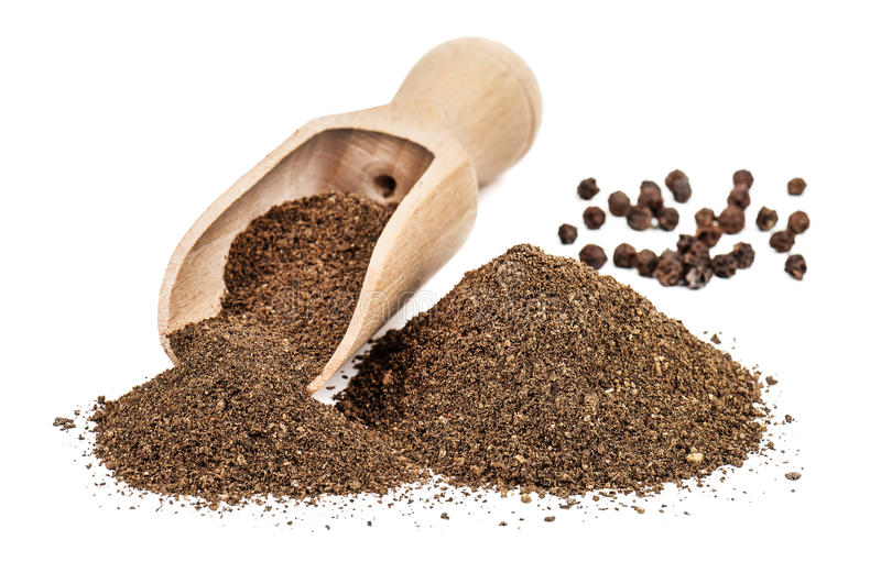 Black pepper ground. (powder) isolated on white background royalty free stock images