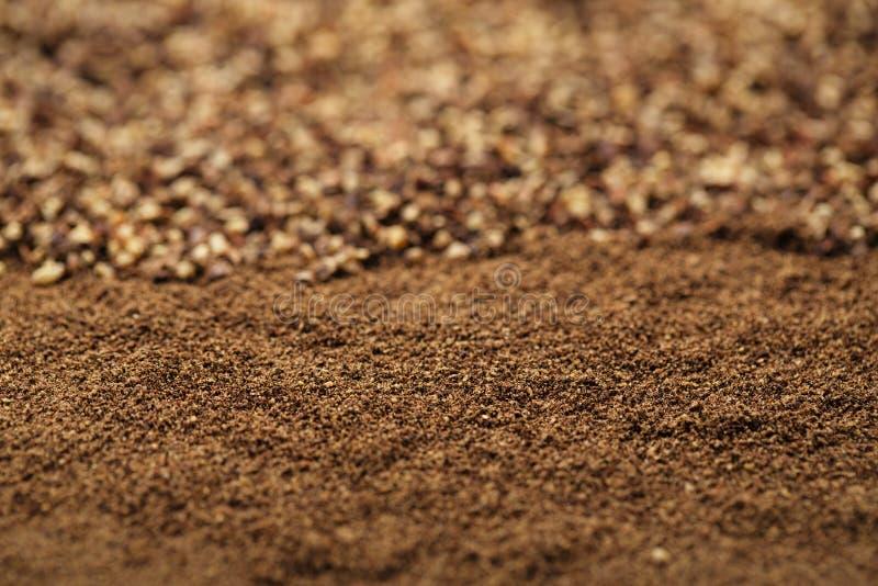 Black pepper ground and powder,. Macro, shallow dof royalty free stock photo