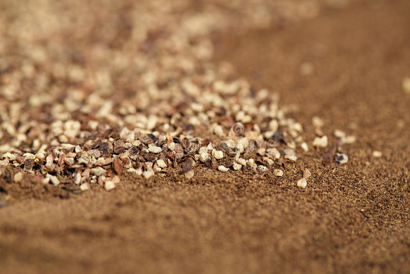 Black pepper ground and powder,. Macro, shallow dof stock image