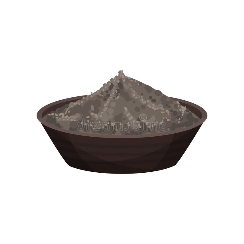 Black pepper powder in ceramic bowl. Spicy condiment. Seasoning for food. Natural spice for dishes. Flat vector design. Black pepper powder in ceramic bowl stock illustration