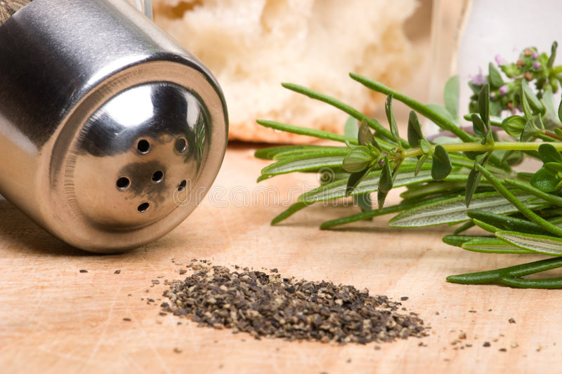 Download Black pepper and rosemary stock photo. Image of ingredient - 4856318