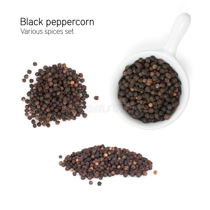 Black peppercorn. Isolated on white background royalty free stock photo