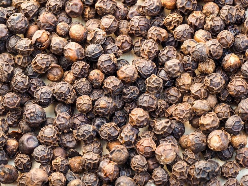Black peppercorns. Close-up image of black peppercorns on a wooden board stock image