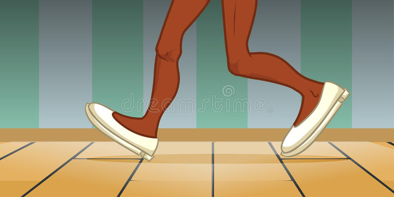 Black person legs walking stock illustration