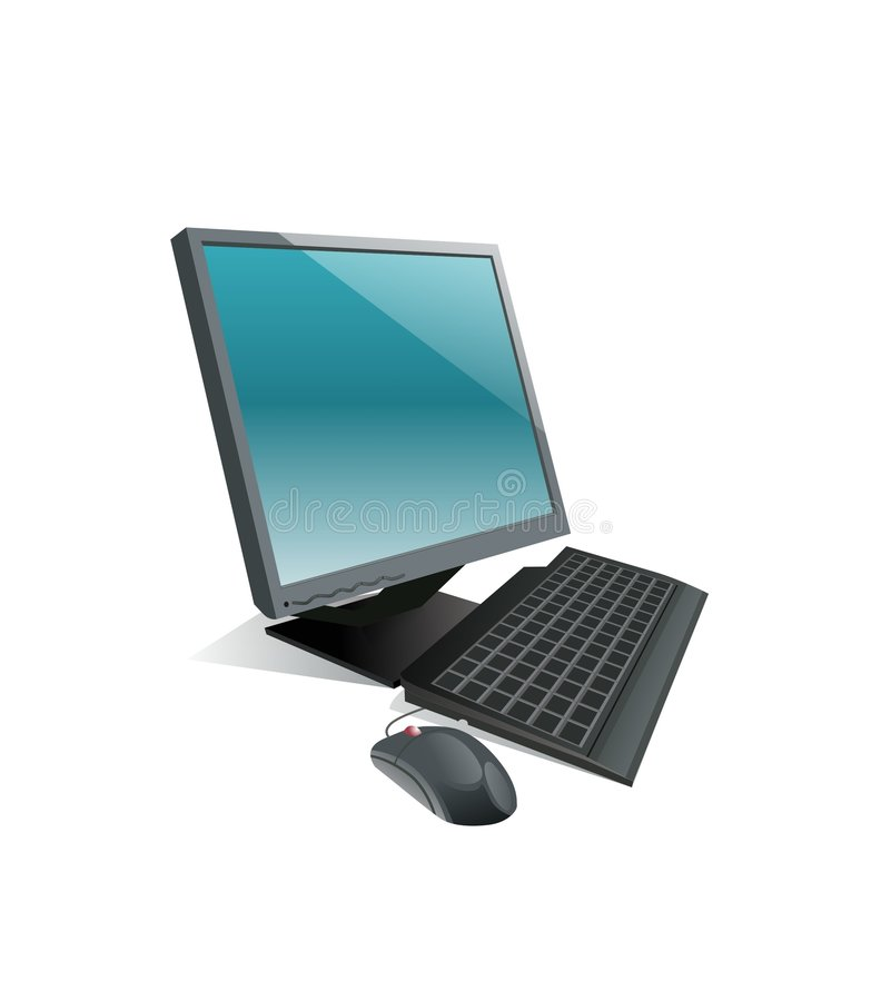 Black Personal Computer. Surrounded by white background stock illustration