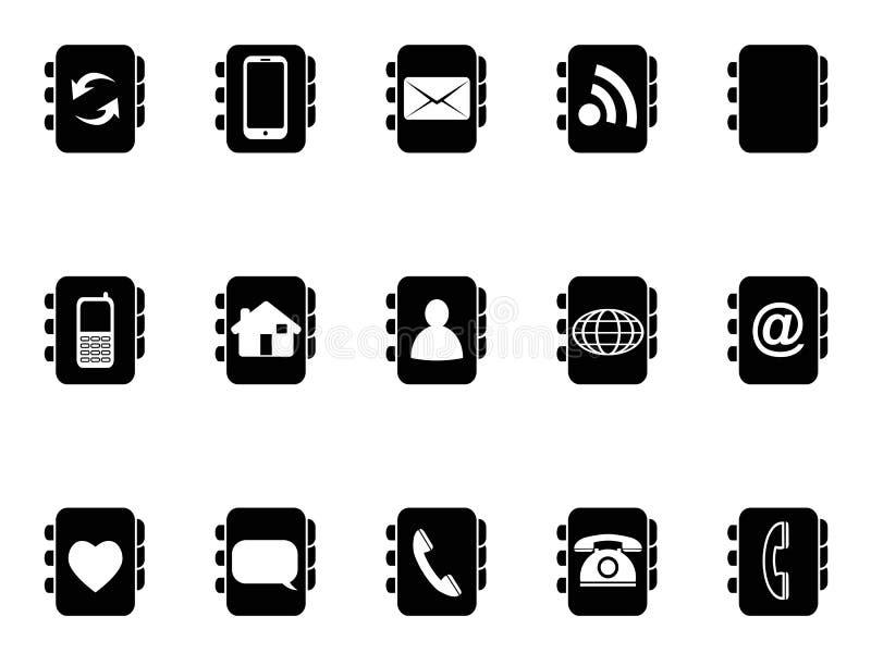 Black phone address book icons. Isolated black phone address book icons from white background vector illustration