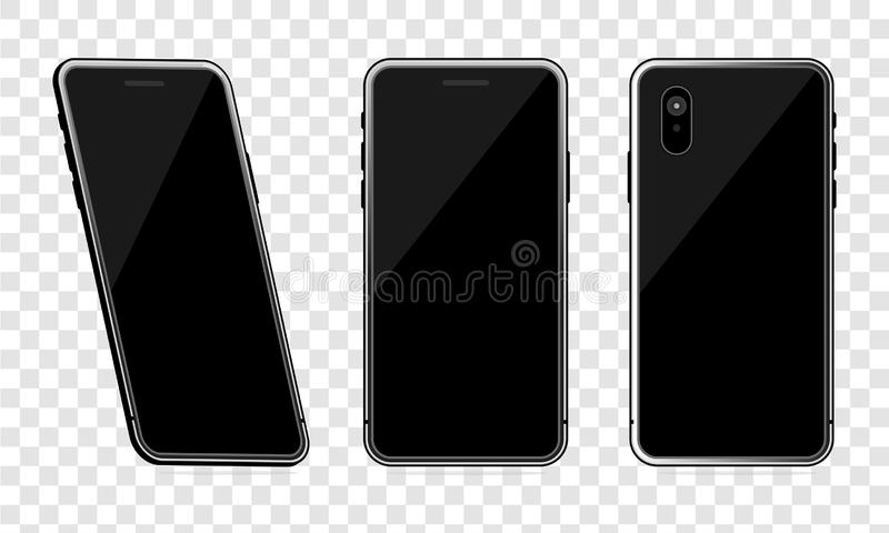 Black phone mock up set on transparent background, Realistic perspective smartphone mock-ups set isolated. Vector illustration for vector illustration