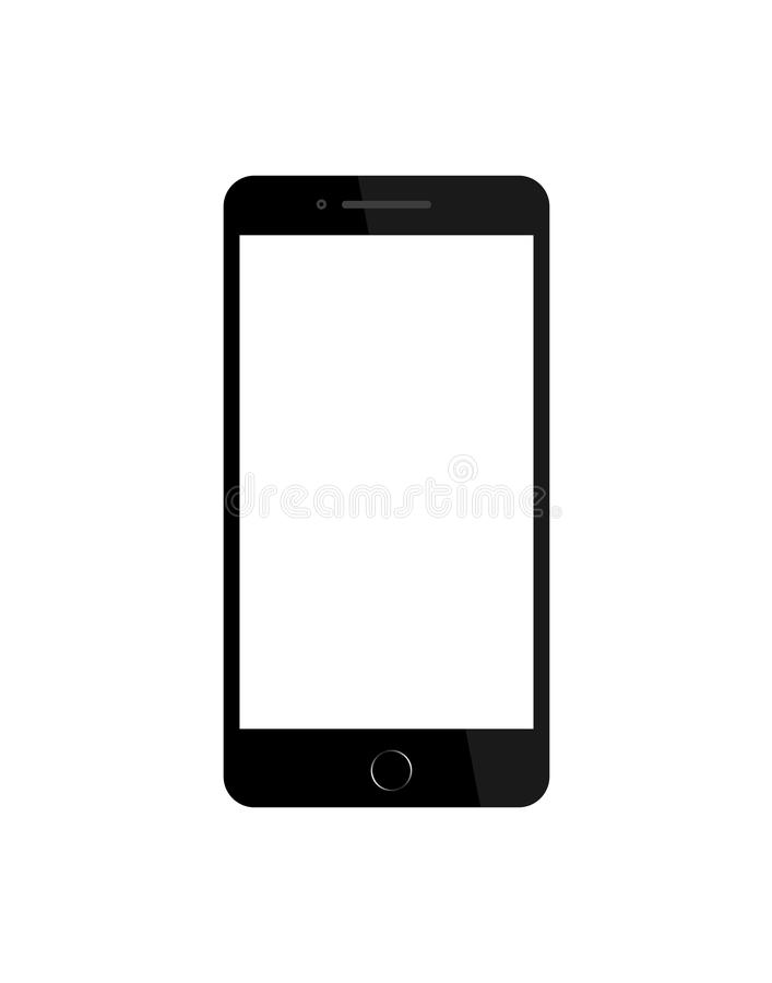 Black phone in mockup style on isolated background. Smartphone with blank screen. Template of wireframe of mobile phone for royalty free illustration