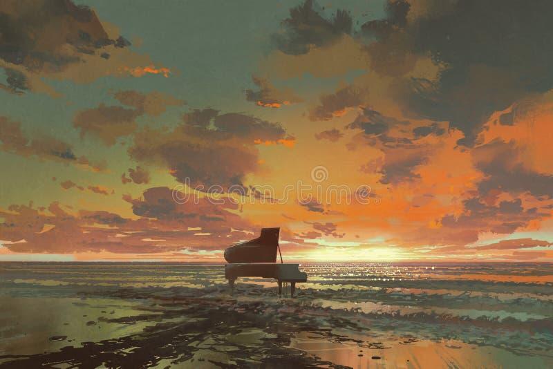 Black piano on the beach at sunset. Surreal painting of melting black piano on the beach at sunset, illustration art stock illustration