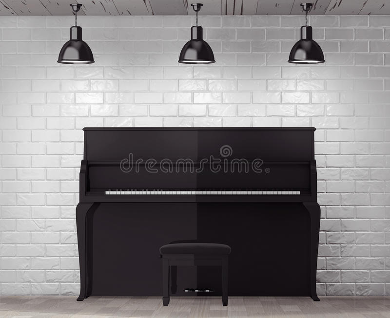 Black piano in front of Brick Wall with Blank Frame. Extreme closeup royalty free stock images