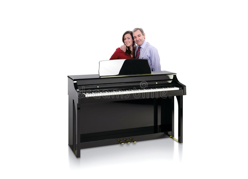 Black Piano with Happy Couple royalty free stock images