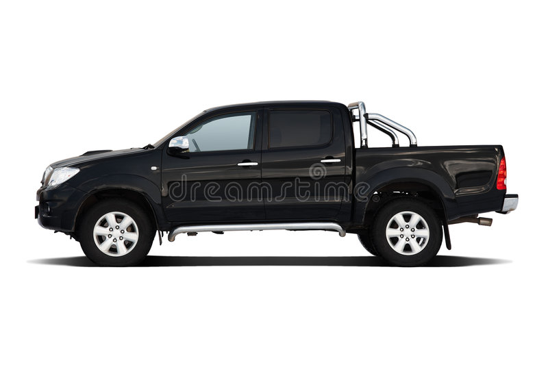 Black pickup truck. Isolated on white stock photo