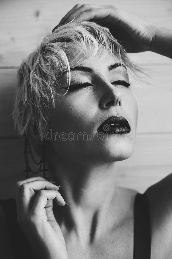 Black and white photo blonde with short hair fashion. Black pics blonde with short hair fashion stock images