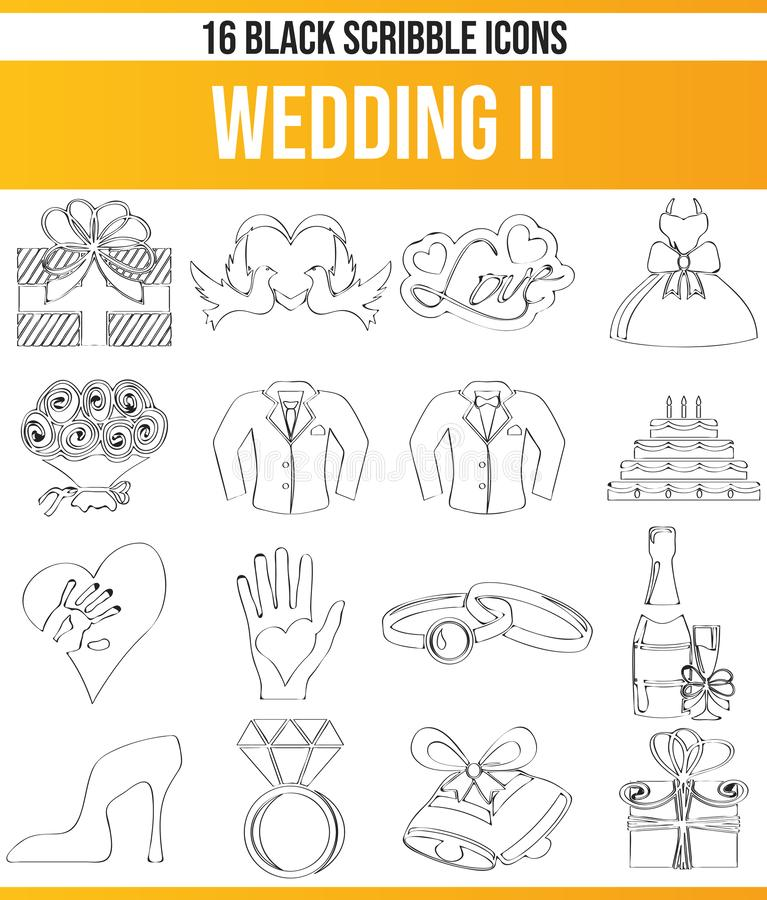Scribble Black Icon Set Wedding II stock illustration