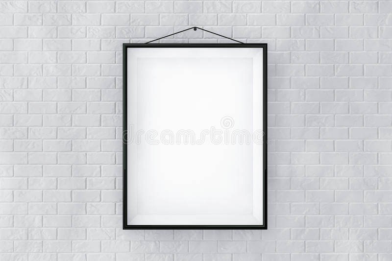 Black Picture Frame on a Brick Wall stock photo