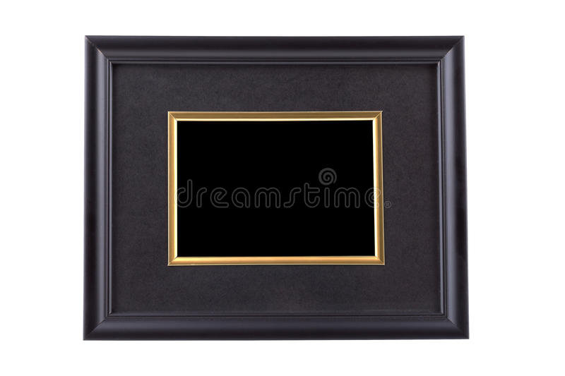 Black picture frame with golden rim isolated on white with clipping path stock photos