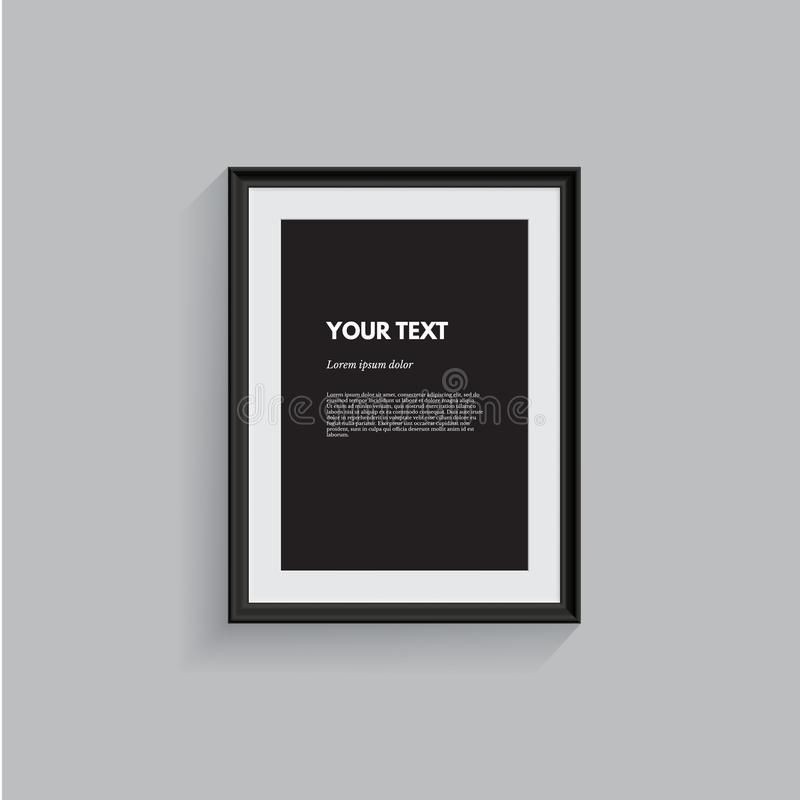 Black picture frame isolated on gray. Vector realistic design element. stock illustration