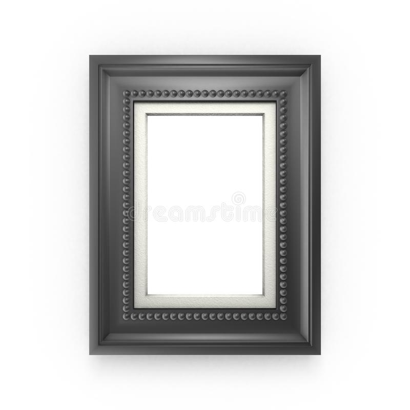 Black picture frame isolated on white vector illustration