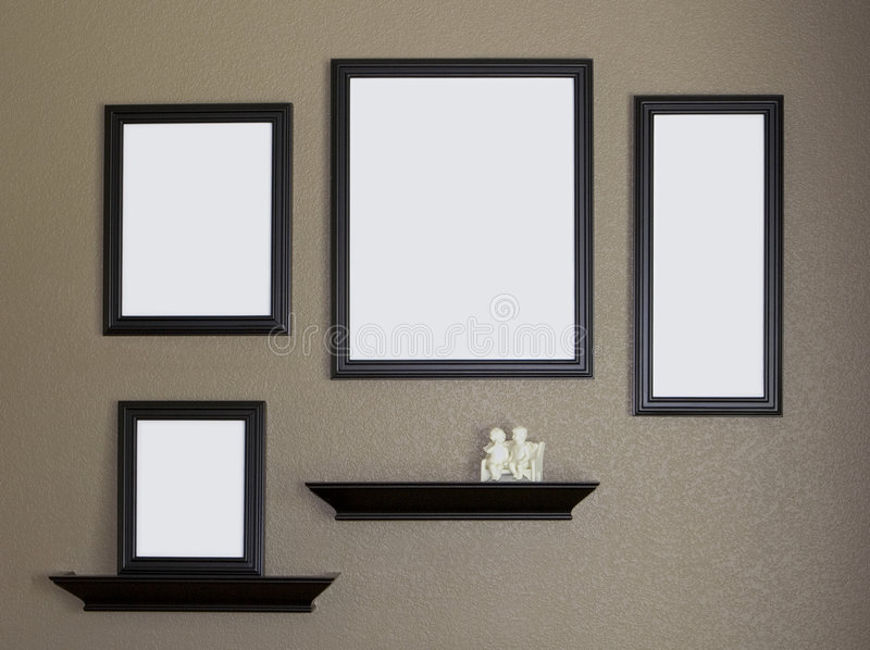 Black Picture Frame and Shelves Collage. Four black picture frames against a brown textured interior wall. Porcelain knick knack sits on one of the two black royalty free stock image